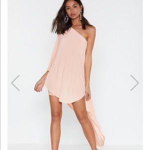 Nasty Gal One Shouldered Blush Dress